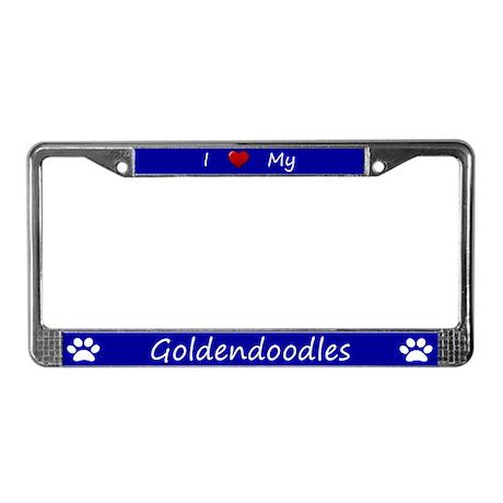 Blue I Love My Goldendoodles License Plate Frame
