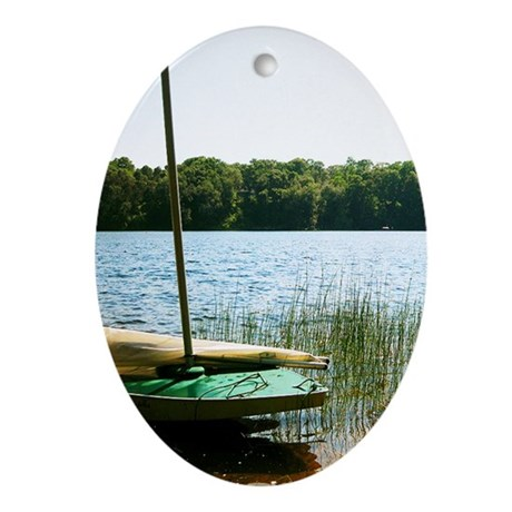 Sailboat on the Lake Christmas Ornament