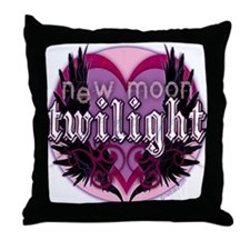 Twilight New Moon Winged Hearts Pink Throw Pillow