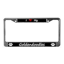 Black I Love My Goldendoodles License Plate Frame