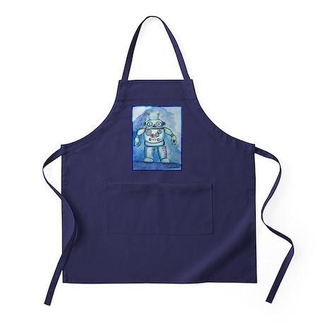 Robot, cute, retro, blue robot, Apron (dark)