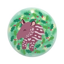 Retro Baby Tapir XMAS Wreath Ornament (Round)