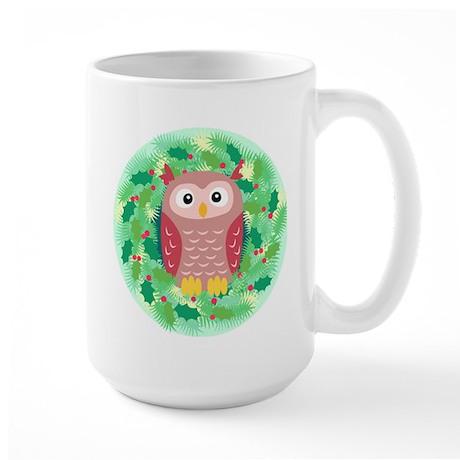 Owl XMAS Wreath Large Mug