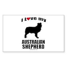 I Love my Australian Shepherd ~ Sticker (Rectangu