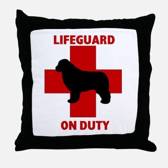 Newfoundland Dog Water Rescue Throw Pillow