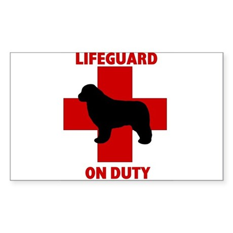 Newfoundland Dog Water Rescue Rectangle Sticker
