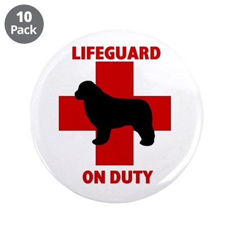 """Newfoundland Dog Water Rescue 3.5"""" Button (10 pack"""