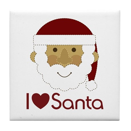I Heart Santa Tile Coaster