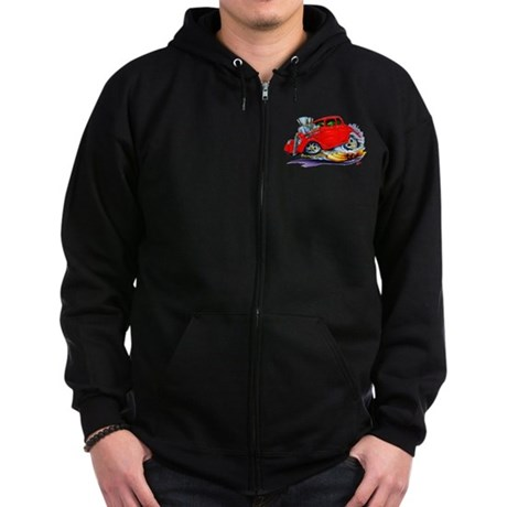 1933-36 Willys Red Car Zip Hoodie (dark)