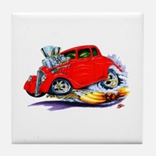 1933-36 Willys Red Car Tile Coaster