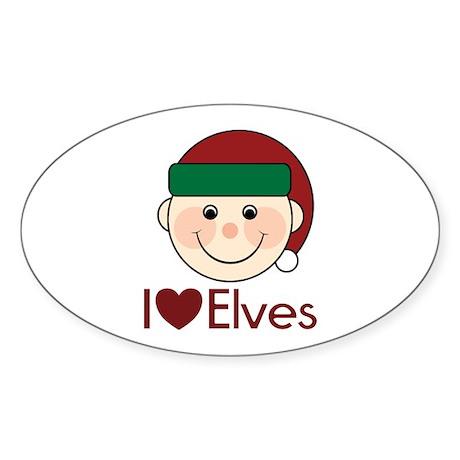 I Heart Elves Oval Sticker