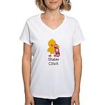 Skater Chick Women's V-Neck T-Shirt