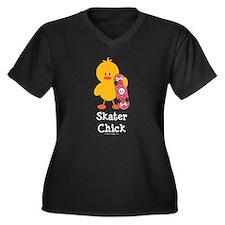 Skater Chick Women's Plus Size V-Neck Dark T-Shirt