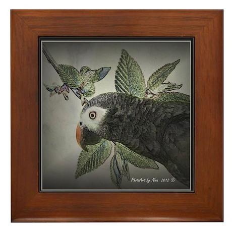 Timnah African Grey Framed Tile