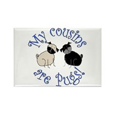 Pug Cousins Rectangle Magnet (100 pack)