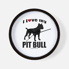 I Love my Pit Bull ~  Wall Clock