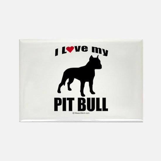 I Love my Pit Bull ~ Rectangle Magnet