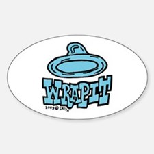 Condom Wrap It (left) Oval Sticker (10 pk)
