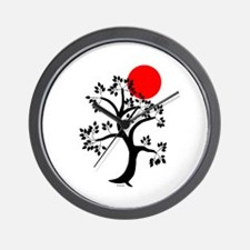 Japanese Tree and Sunscape Yoga Wall Clock