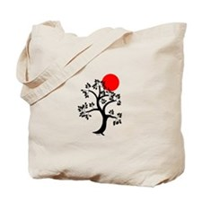 Japanese Tree and Sunscape Yoga Tote Bag
