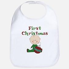 Boy With Ornament 1st Christmas Bib