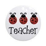Ladybug Teacher Ornament (Round)