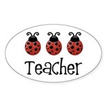 Ladybug Teacher Oval Sticker