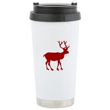 Red And White Reindeer Motif Travel Mug