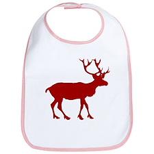Red And White Reindeer Motif Bib