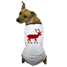 Red And White Reindeer Motif Dog T-Shirt