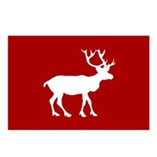 Red And White Reindeer Motif Postcards (Package of