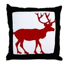 Red And White Reindeer Motif Throw Pillow