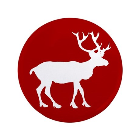 """Red And White Reindeer Motif 3.5"""" Button"""