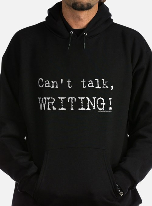 Can't talk, writing Hoodie (dark)