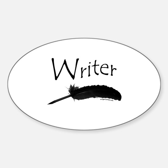 Writer with quill pen Oval Decal