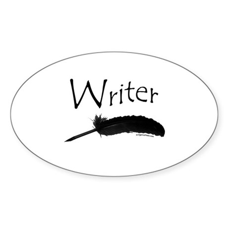 Writer with quill pen Oval Sticker
