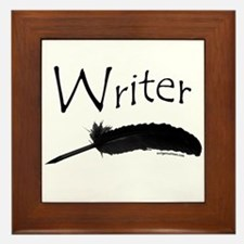 Writer with quill pen Framed Tile