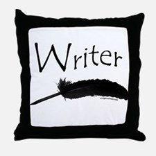Writer with quill pen Throw Pillow