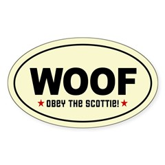 WOOF! SCOTTIE Scottish Terrier Oval Decal