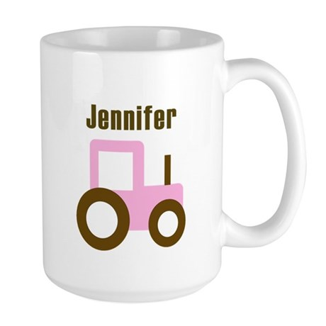 Jennifer - Pink/Brown Tractor Large Mug