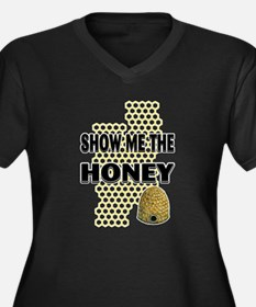 Show The Honey Women's Plus Size V-Neck Dark T-Shi