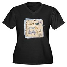 Scrap It! Women's Plus Size V-Neck Dark T-Shirt