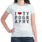 I Heart Typography Jr. Ringer T-Shirt