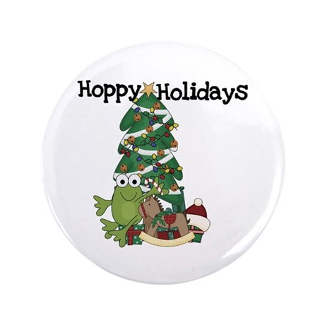 "Frog Hoppy Holidays 3.5"" Button"