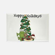 Frog Hoppy Holidays Rectangle Magnet