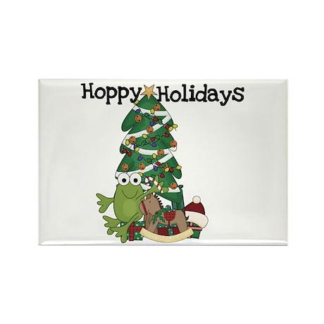 Frog Hoppy Holidays Rectangle Magnet (10 pack)