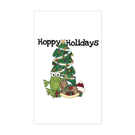Frog Hoppy Holidays Sticker (Rectangle)