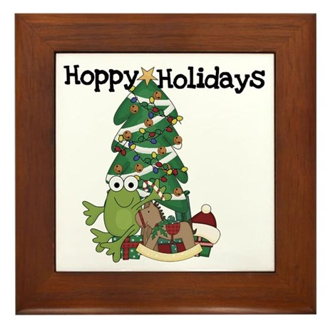 Frog Hoppy Holidays Framed Tile