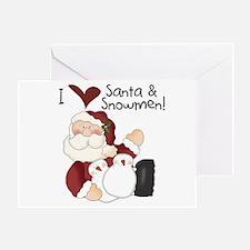 Santa and Snowmen Greeting Card