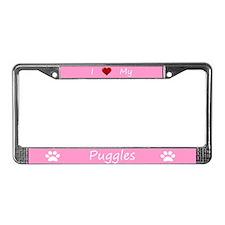Pink I Love My Puggles License Plate Frame